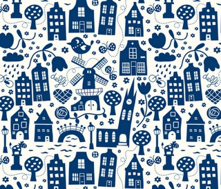 Dutch City Delft Material by Spoonflower--I'm sure I could find a use for this fabric