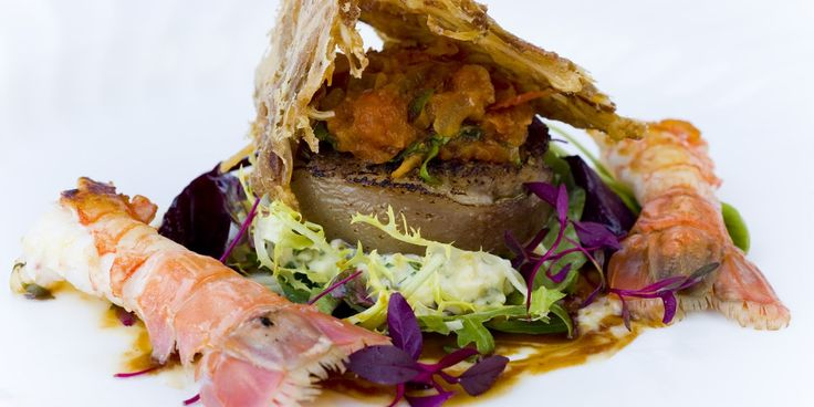 Rolled pig's head with langoustine and a crispy ear salad - Great British Chefs