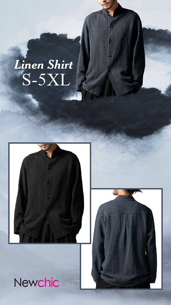 1da2fc3e2a3  Online Shopping  Vintage Chinese Style Linen Stand Collar Casual Loose  Shirt for Men  casual  style