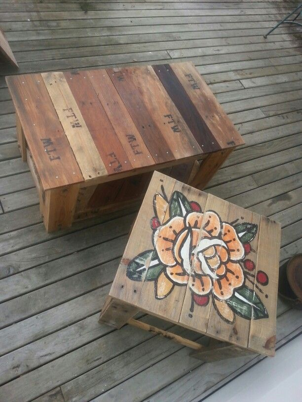Recycled wooden pallet tables