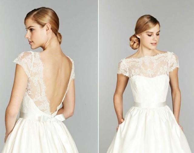 Illusion Tara Keely dentelle Encolure Bateau, corsage de dentelle à mancherons bal robe de mariée