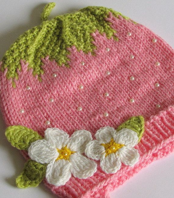 Pink Strawberry Knitted hat. Not a pattern, but Sooooooo CUTE!