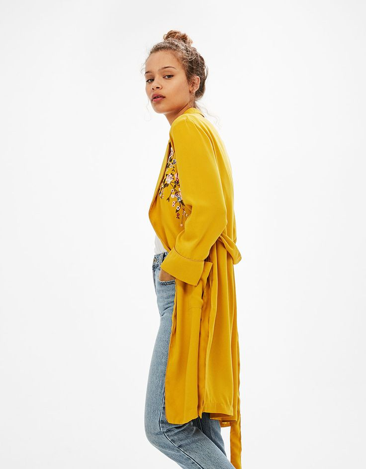 Long dressing gown with floral embroidery and belt - New - Bershka United Kingdom