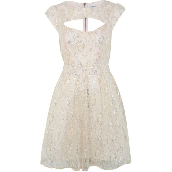 Miss Selfridge Nude Lace Prom Dress ($95) ❤ liked on Polyvore