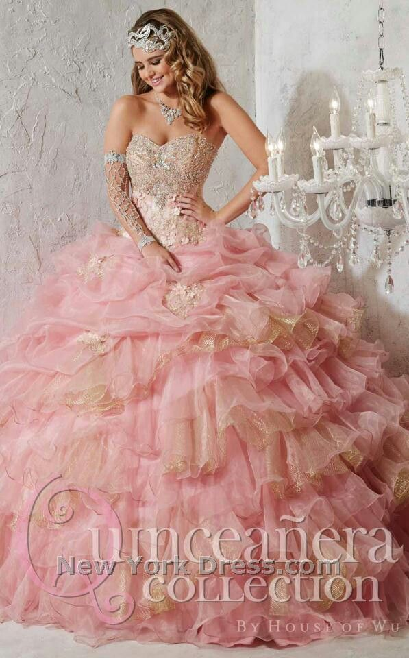 Pink and Gold quinceanera dress