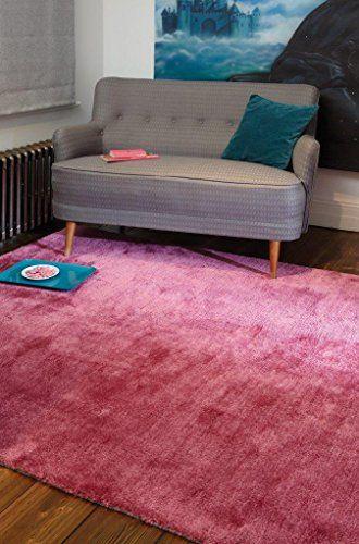 Teppich Wohnzimmer Carpet Modernes Design TULA UNI RUG Polyester 200x300 Cm Rechteckig Rosa