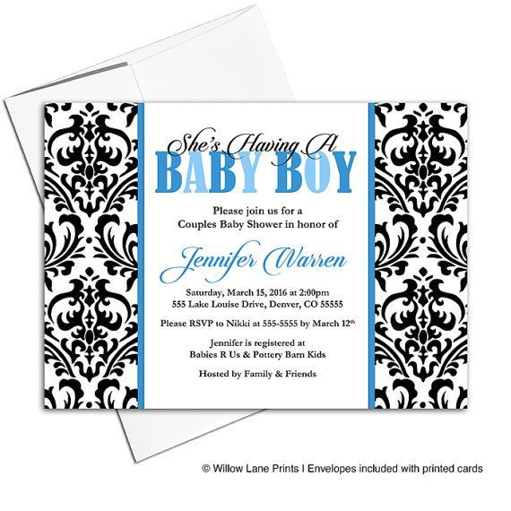 Damask Baby Shower Invitations Boys, Couples Baby Shower Invite, Black and White with Blue, DIY Printable - WLP00704 by WillowLanePaper