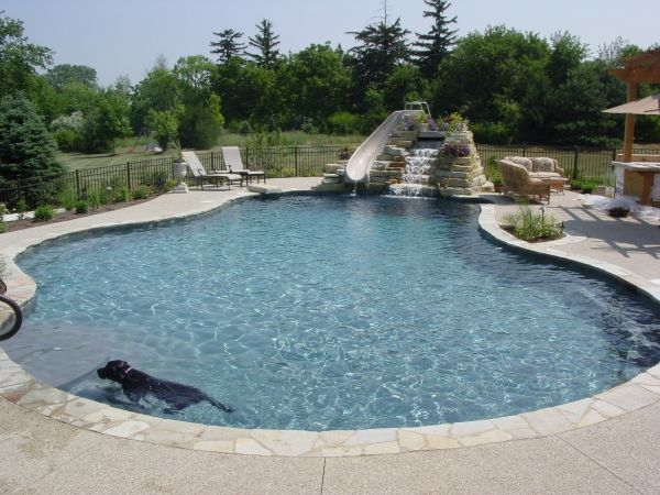 Amazing Free Form Pool Design With Waterfall And Slide #freeform # Swimmingpool #pools #