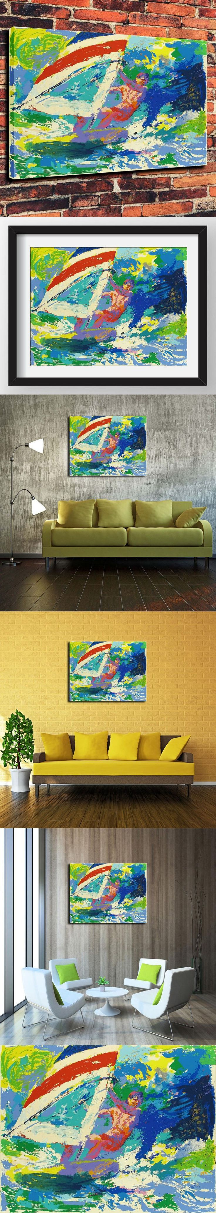 Canvas Artwork Prints Watercolor Oil Painting for Western Home Decor Which Wind Surfing By LeRoy Neiman Painted( No Framed ) $30