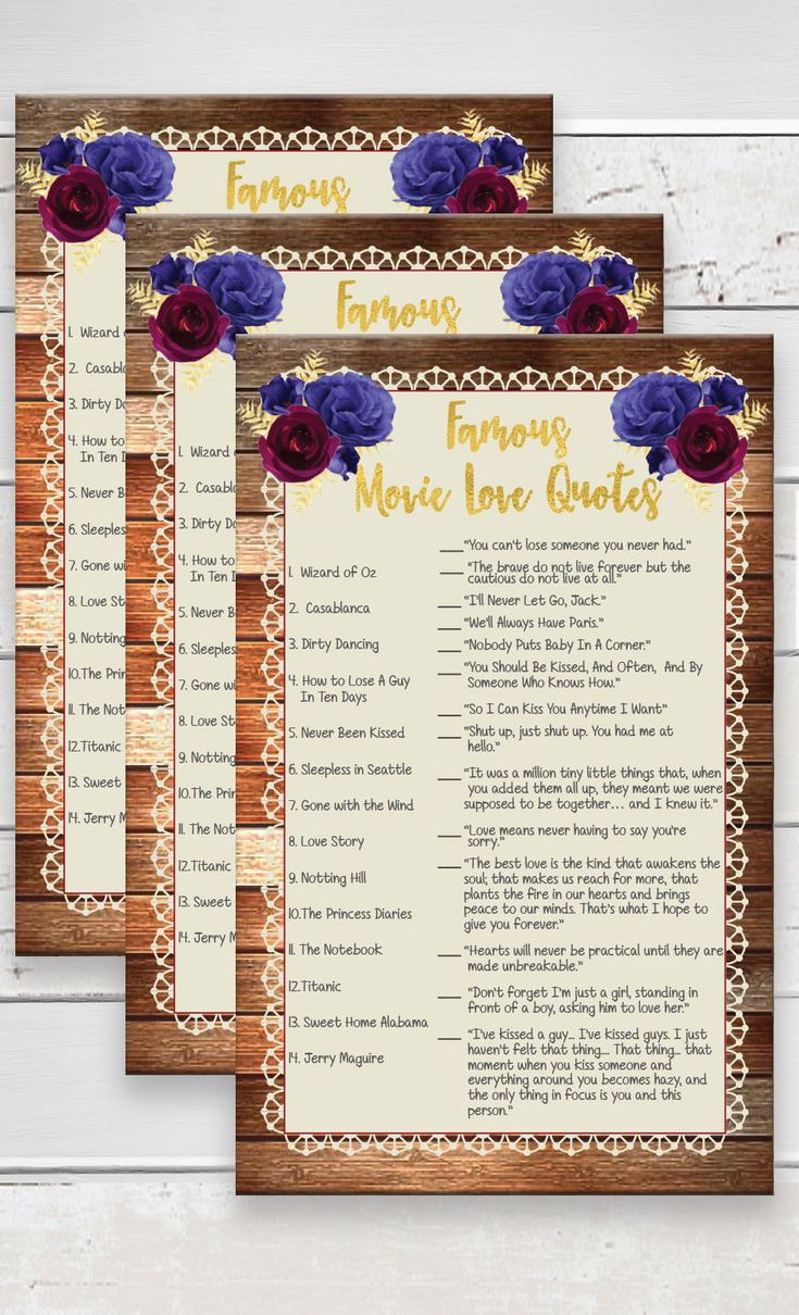 games to play at couples wedding shower%0A Wood  Movie Quotes  Wedding Shower Game  Movie Love Quotes  Bridal Shower  Game  Rustic Wood  Couples Shower Game  Instant Download  D