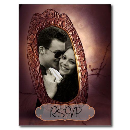 Stylish Vintage Antique Frame with photo RSVP Postcard
