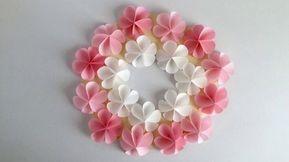 【折り紙・コピー用紙】簡単!かわいい花 ハッピーカラーのリース Easy Cute flower - YouTube