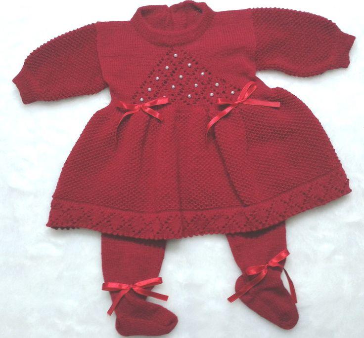 Saída Maternidade Batizado Vestido Calça | Ateliê do Tricot Infantil | Elo7