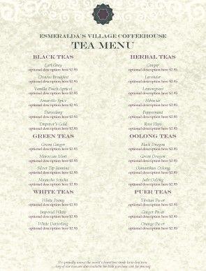 Tea House Menu template #tea #coffee #coffeehouse #menu #template #design #diy