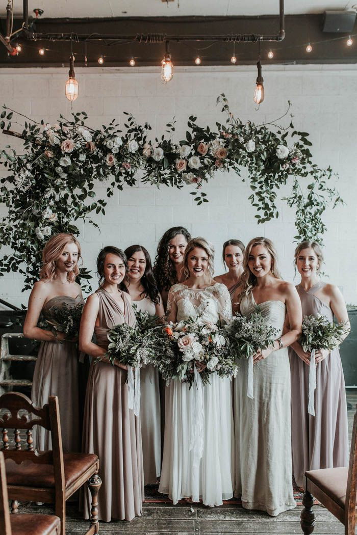Long neutral bridesmaids dresses | Image by Karra Leigh Photography
