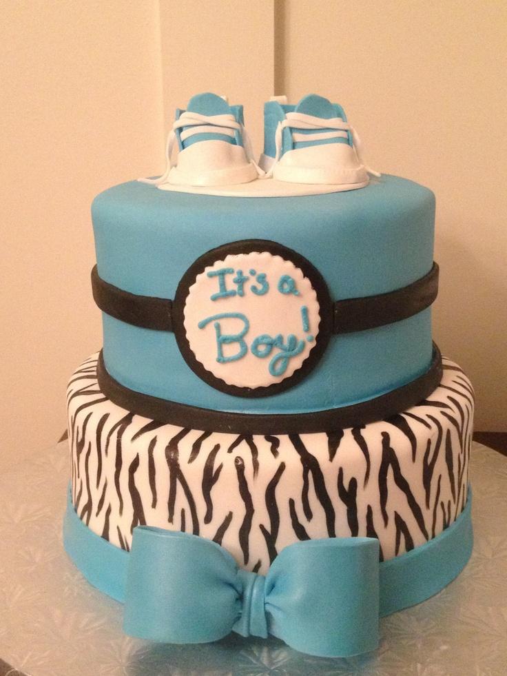 zebra and blue baby boy shower cake entice me cake studio