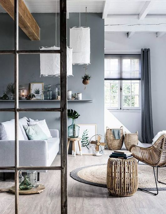 gray blue walls and rattan home furnishings / sfgirlbybay