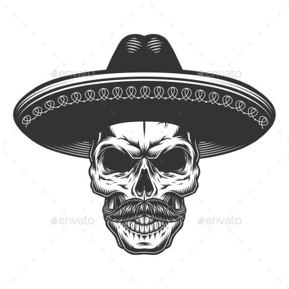 Skull In The Mexican Sombrero Mexican Skull Tattoos Mexican Art Tattoos Skull Art Tattoo