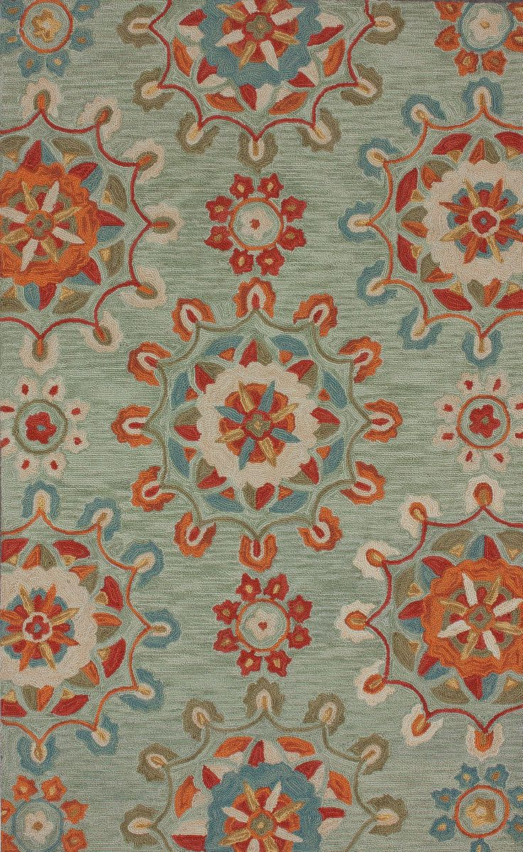 This hand tufted transitional style Nuloom rug features a stunning Faded Medallions pattern and was made in China from 100% Polyester. This discontinued area rug consists of beige, teal blue, light brown, red, orange, yellow, and green colors. It is...