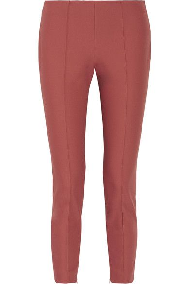 Theory - Alettah Cropped Stretch Cotton-blend Tapered Pants - Antique rose - US10