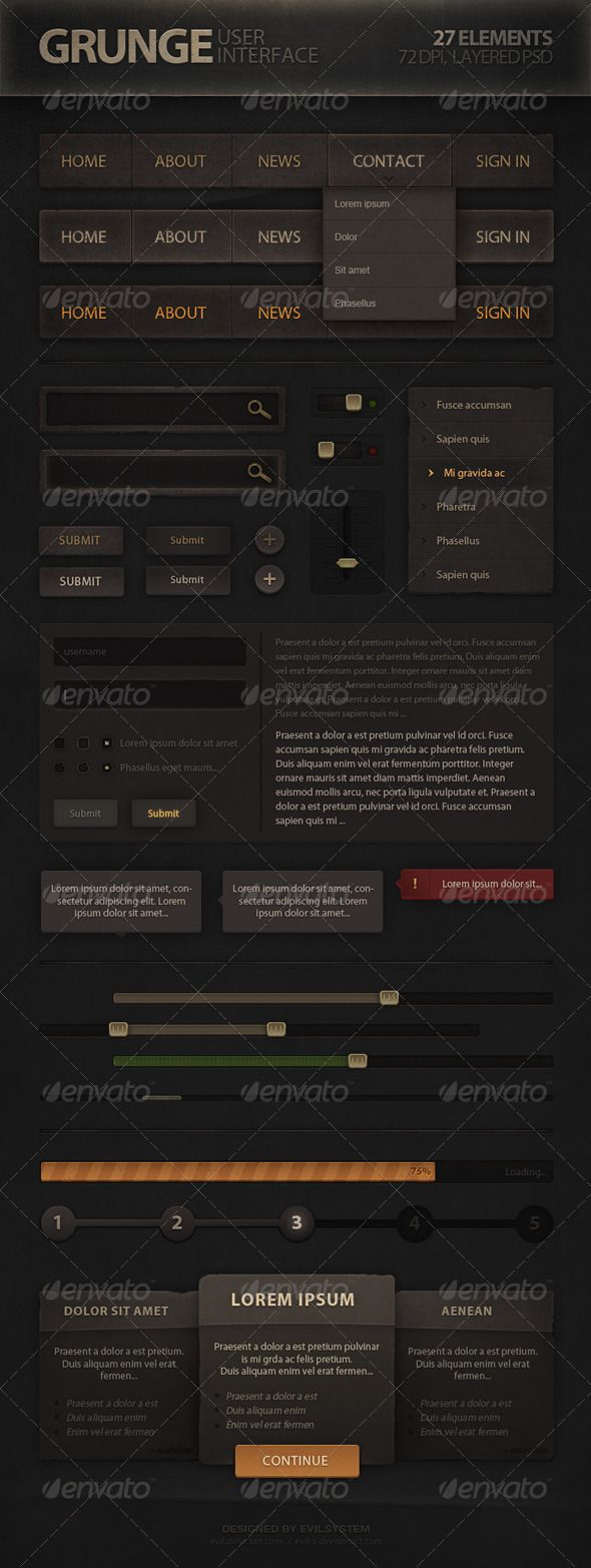 Grunge User Interface  #GraphicRiver         Grunge User Interface contains elements that can be used in all kind of web site, mobile application and game development.  	 Features:   	 - Fully editable and customizable - Easy to modify for your needs - Elements are organized in groups - Normal/Hover/Pressed states are included  	 Included:  	 - Navigation Bar - Search Bar - On/Off Swither - Different Button Styles - Vertical Navigation - Forms (text input, radio button, checkbox, submit)…