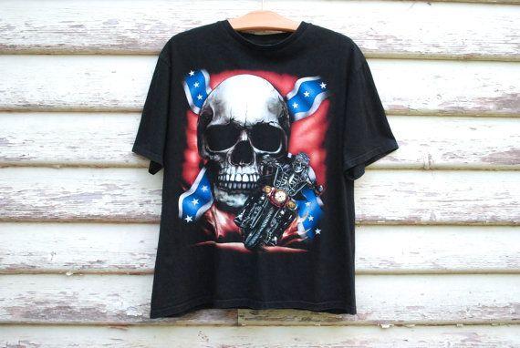 90s Vintage Skull Biker T shirt Grunge by GamineRagVintage on Etsy
