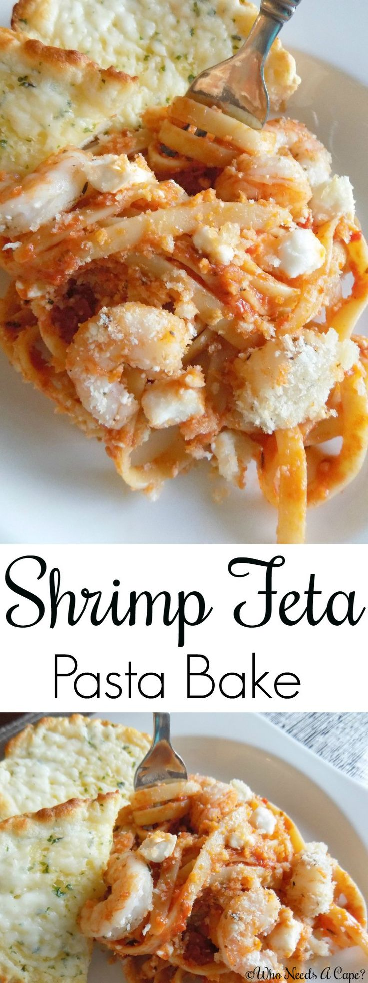 Wonderful flavors blend together in this simple Shrimp Feta Pasta Bake. Sauce, pasta, shrimp, cheese all baked together with a crunch topping. So yummy! #SimmeredInTradition [ad]