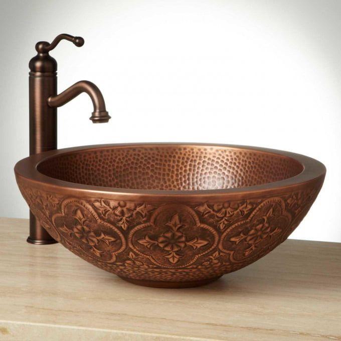 14 Casalina Double Wall Hammered Copper Vessel Sink Bathroom