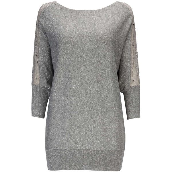 Silver Lace Tunic Jumper ($59) ❤ liked on Polyvore featuring tops, silver, batwing tops, three quarter sleeve tops, cocktail tops, loose fitting tops and lace sleeve top