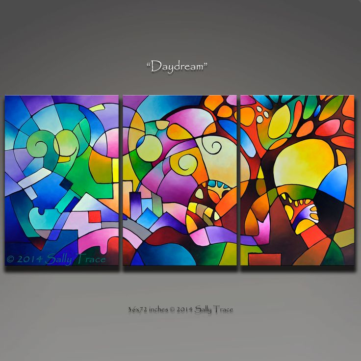 A Sally Trace painting that represents a new day filled with possibilities. Original geometric triptych painting commission. 36 inches high x 72 inches wide, 1.5 inches deep. Three 24x36 inch canvases. Acrylic on canvas.
