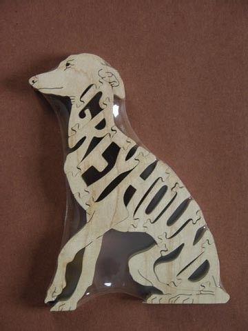 Sitting Greyhound Dog Puzzle Wooden Toy Hand Cut by Puzzimals, $12.00