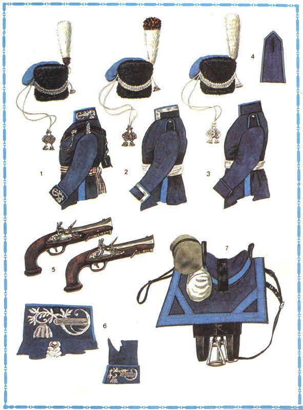 Dress and equipment Ataman Cossack Regiment in 1812 1 - Chief officer's uniform; 2 - the sergeant's uniform (uryadnik); 3 - uniform of a Cossack; 4 - shoulder straps of lower ranks; 5 - pistols ataman M.I. Platov; 6 - collar and cuff of Chief officer's uniform; 7 - Cossack saddle.