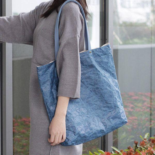 Designer Crumple Kraft Paper Stylish Handbag Casual Book Bags