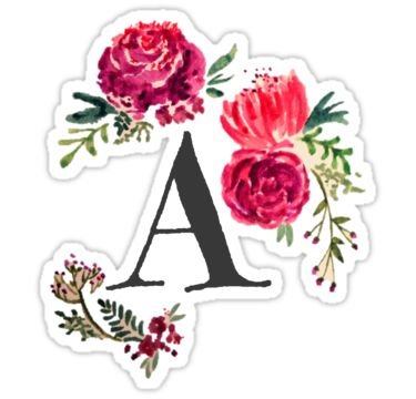 Floral Monogram Watercolor, Letter A • Also buy this artwork on stickers, apparel, phone cases, and more.