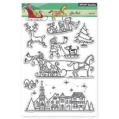 Пенни черные резиновые штампы чистый ясный Рождество Набор марок новый 2015