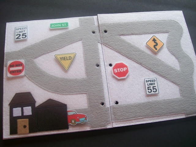"Homemade ""Quiet Book"" for car rides or whenever you need the kids to do a learning/imaginative activity on their own. This goes on the to-make list!"