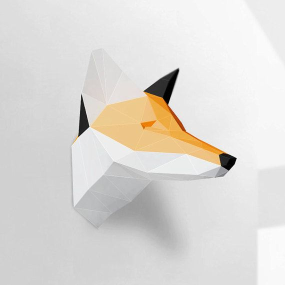 Fox Sculpture, Papercraft, Make your own paper fox, Room decoration, paper craft animal, Polygonal, Low poly, printable DIY template, PDF