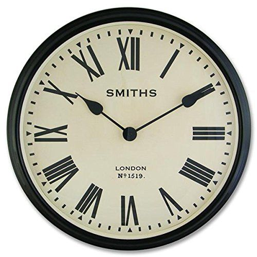 Smiths Large Wall Clock With Roman Numerals 50cm Amazon Co Uk Kitchen Home Retro Wall Clock Wall Clock Clock