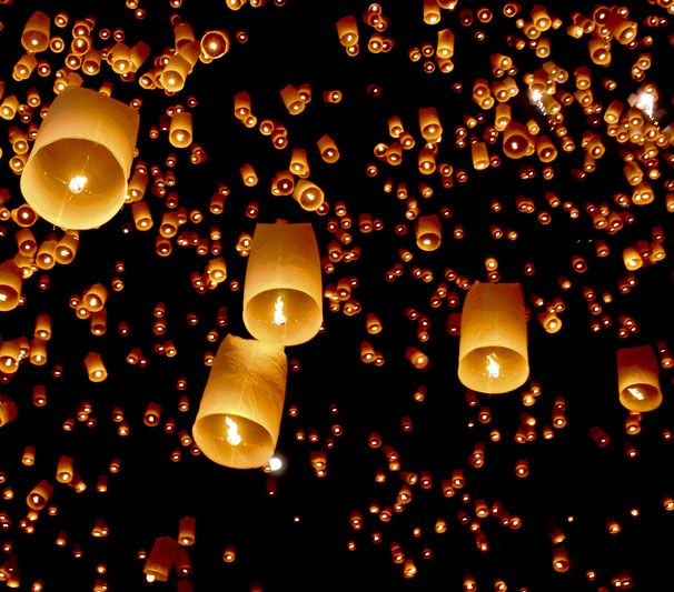 Asian paper good luck flying lanterns