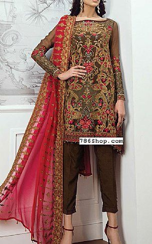 79a41dccbe Chocolate Chiffon Suit | Buy Baroque Pakistani Dresses and Clothing online  in USA, UK