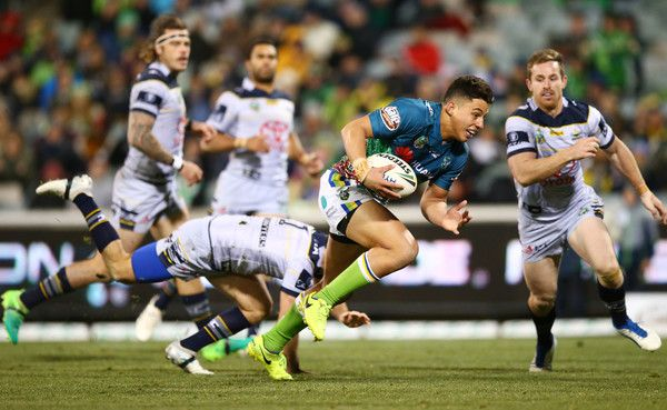 Joseph Tapine of the Raiders makes a line break to score during the round 17 NRL match between the Canberra Raiders and the North Queensland Cowboys at GIO Stadium on July 1, 2017 in Canberra, Australia.