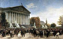 La foule devant le Corps législatif au matin du 4 septembre (Jacques Guiaud, 1870, musée Carnavalet, Paris)