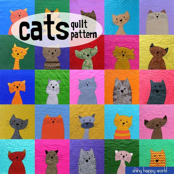 So viele Katzen! Es ist ein Clowder Katzen – eine eklatante Katzen – ein anspringen der Katzen!  Das Muster ist so viel mehr als nur ein Muster. Es ist wirklich eine Applikation-Workshops, getarnt als Muster. :-) Wenn Sie wissen, wie Ihre Nähmaschine verwenden, machen Sie diese kuschelig Kitty quilt!  Es gibt Links zu Videos, Unterricht, drei verschiedene Applique-Techniken – Nadel Zuges, Maschine Applique und Applikation mit Niedrigschmelzende Klebstoff – und das Muster enthält Stücke…