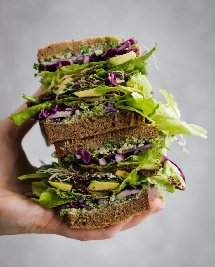 Vegan Sandwich with Parsley Tahini | @xhealthyrecipex