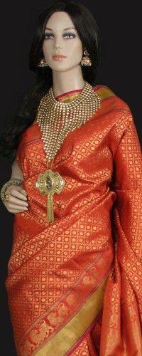 Orange Gold Bridal Kanjeevaram Saree