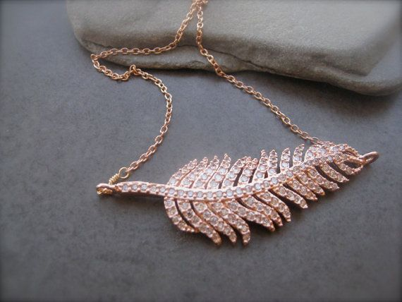 Feather Necklace, Sparkly Pavee necklace, Rose Gold,  Metal Pendant, Dainty Necklace, Leaf Necklace, Shimmering