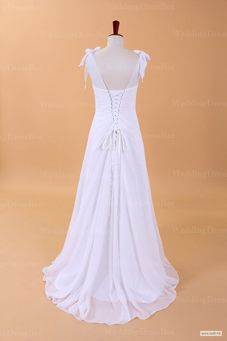 outdoor bridesmaid dresses Graceful Simple V-neck Chiffon Wedding Dress with Bows On Shoulder $168.98