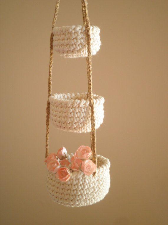 3 nivel poco cestas de ganchillo cestas por PetitesByYurika en Etsy