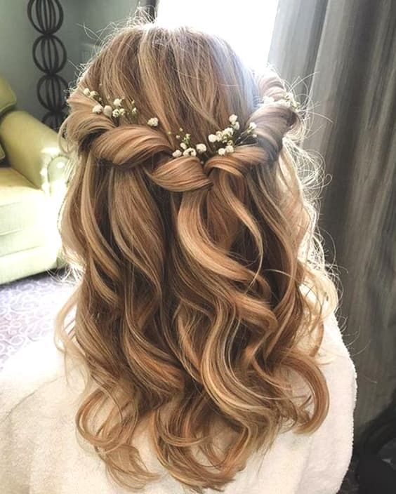 46 Unforgettable Wedding Hairstyles for Long Hair 2019---natural curls half up half down wedding hairstyle with elegant twists and dotted flowers
