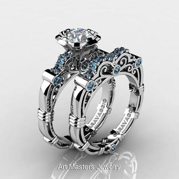 Art Masters Caravaggio 10K White Gold 1.0 Ct White Sapphire Aquamarine Engagement Ring Wedding Band Set R623S-10KWGAQWS